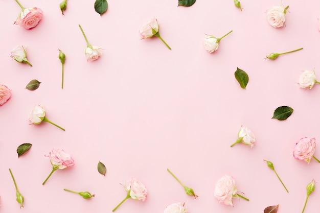 コピースペースと葉と花のトップビューの配置 無料写真