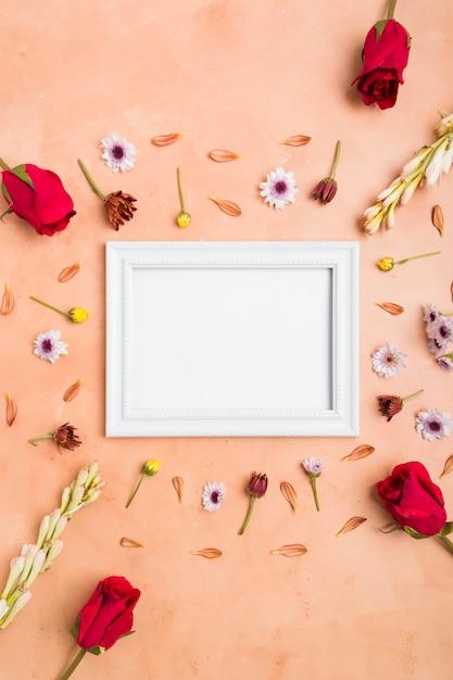 バラと春の花の品揃えでフレームのトップビュー 無料写真