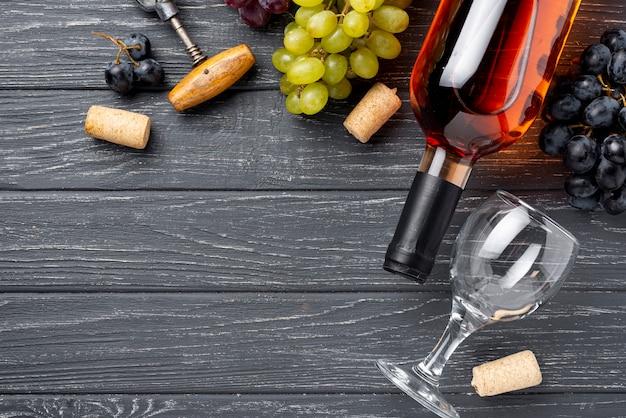 コピースペースフラットレイオーガニックワインボトル 無料写真