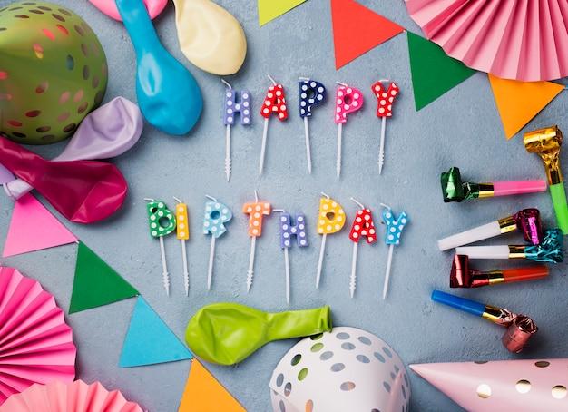 誕生日パーティーのフラットレイアウト 無料写真
