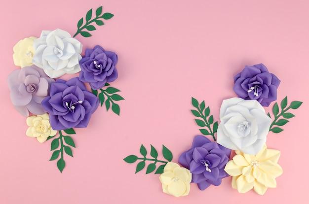 春の紙の花とビューの配置の上 無料写真