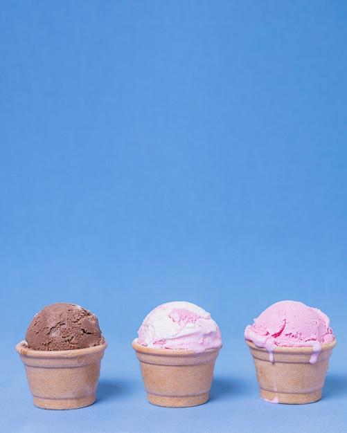 Различные виды мороженого, вид спереди Бесплатные Фотографии