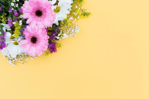 黄色の背景を持つトップビュー花のフレーム 無料写真
