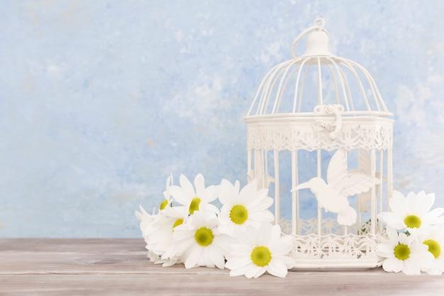 花と鳥かごの配置 無料写真