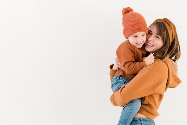 コピースペースの母親と息子 無料写真