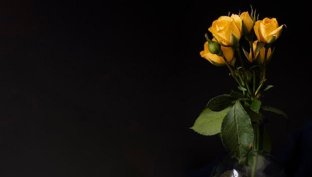 コピースペースの黄色いバラの花瓶 無料写真