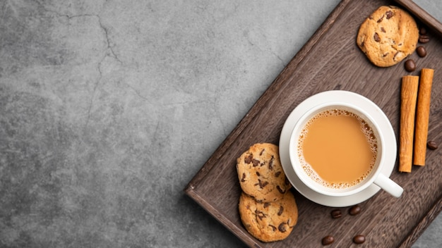 フラットレイクッキーとコーヒーコピースペース 無料写真