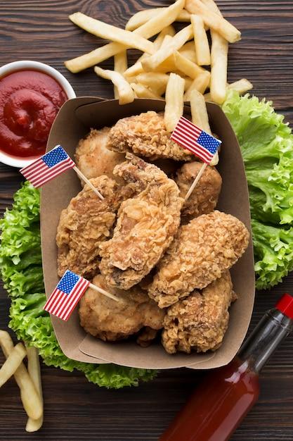 Плоский вкус вкусной американской еды Бесплатные Фотографии
