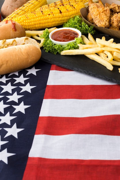Взгляд конца-вверх американской еды Бесплатные Фотографии