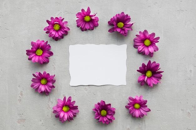 空白の紙のシートと花のフレーム 無料写真