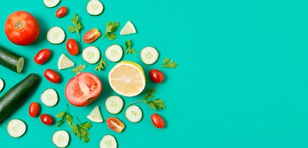 コピースペースを持つ野菜のトップビューの品揃え 無料写真