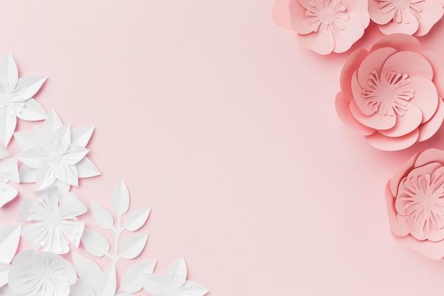 ピンクと白の紙の花 無料写真