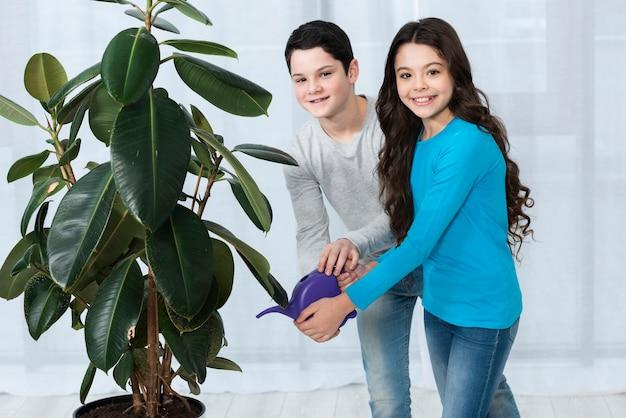 子供が一緒に花に水をまく 無料写真