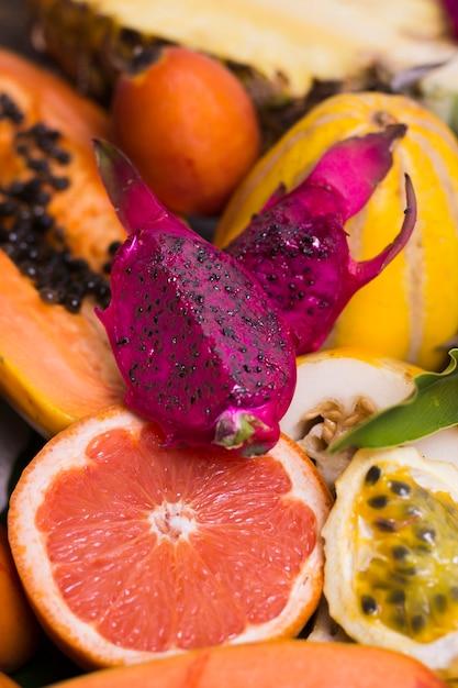 Макро ассортимент органических фруктов Бесплатные Фотографии