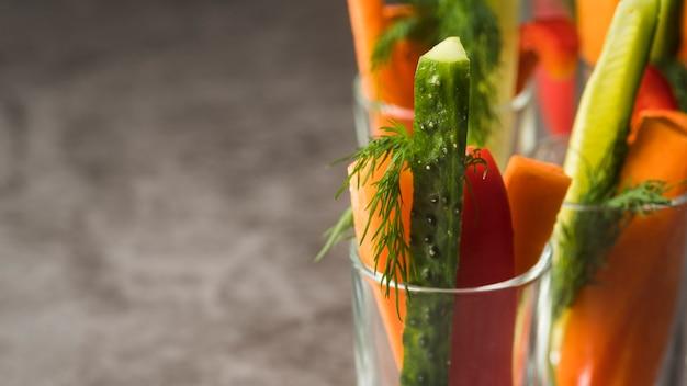 野菜とクローズアップグラス 無料写真