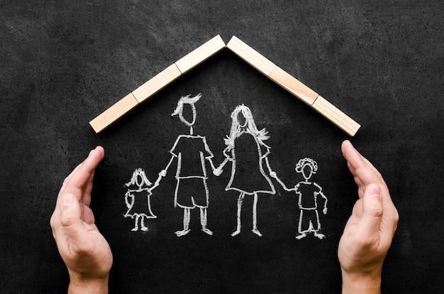 子供を持つ親の平面図チョーク図面 無料写真
