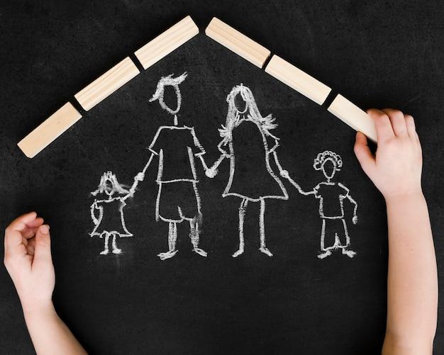 家族で描くフラットレイアウトチョーク 無料写真