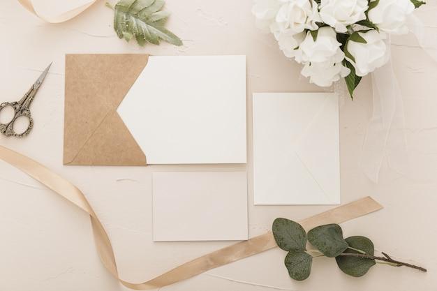 コピースペースと結婚式のコンセプトのフラットレイアウト 無料写真