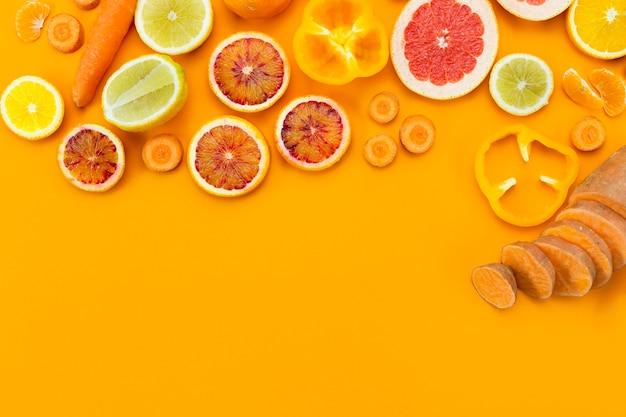 さまざまなエキゾチックなフルーツのコピースペース 無料写真