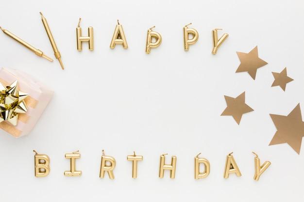 パーティーのトップビュー誕生日メッセージ 無料写真