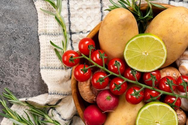 トップビュー野菜配置 無料写真
