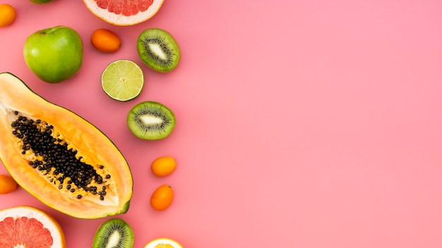 フラット横たわるおいしいフルーツフレーム 無料写真