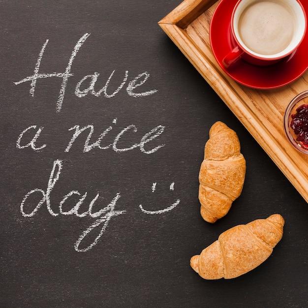 Хорошего дня сообщение с завтраком Бесплатные Фотографии