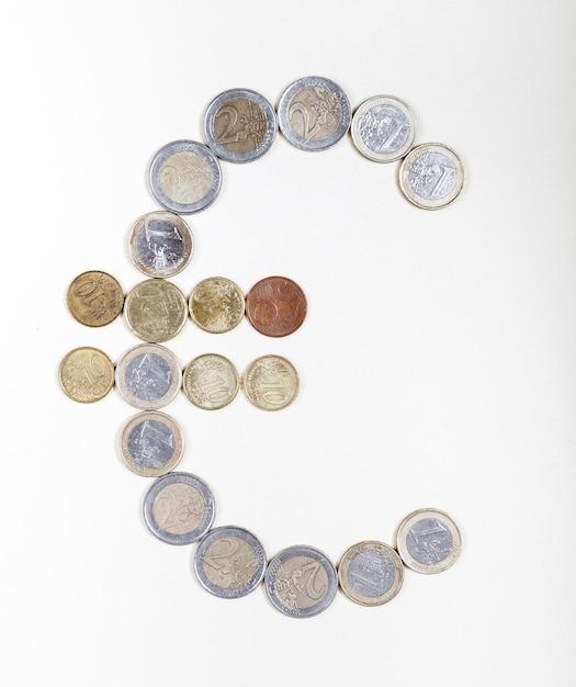 ユーロ記号を作成するコイン 無料写真