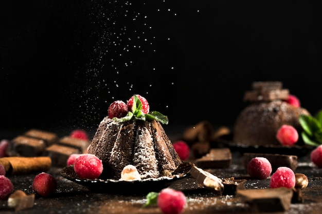 Вид спереди вкусного шоколадного торта Бесплатные Фотографии