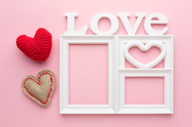 かわいい愛フレームコンセプトのトップビュー 無料写真