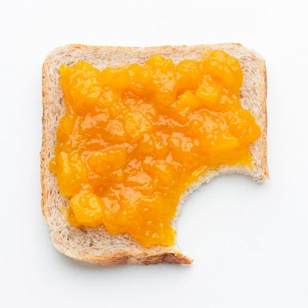 トップビューアプリコットジャムのパン 無料写真