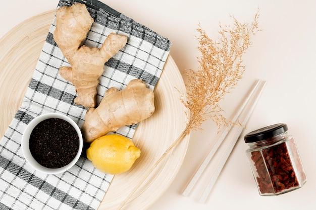 Вид сверху концепции натуральных ингредиентов Бесплатные Фотографии
