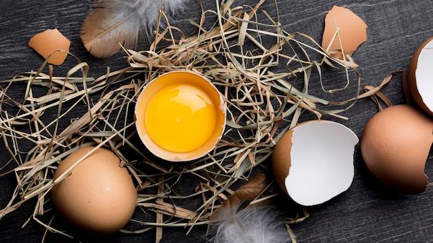トップビューの新鮮な鶏の卵 無料写真