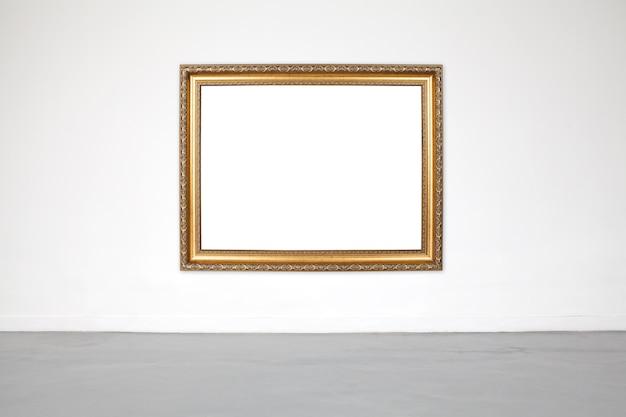 ショールームとギャラリーの白いセメントの壁の古典的なフレーム。 Premium写真