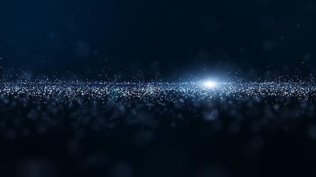 抽象的な青い色デジタル粒子波とほこりと明るい背景 Premium写真