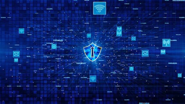 盾のアイコンと安全なネットワーク通信、サイバーセキュリティの概念。 Premium写真