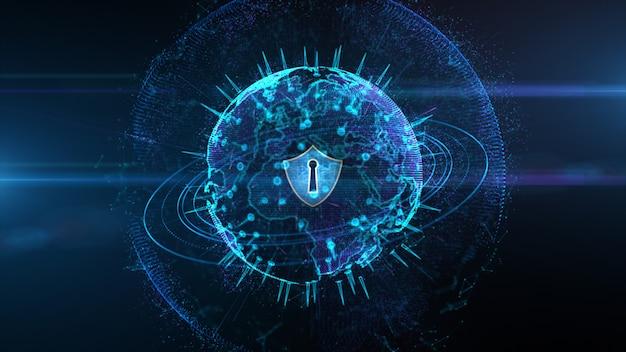 セキュアグローバルネットワーク、サイバーセキュリティ、およびパーソナルデジタルデータの保護に関する盾のアイコン Premium写真
