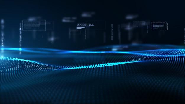 Волна цифровых частиц и цифровые данные, фон цифрового киберпространства Premium Фотографии