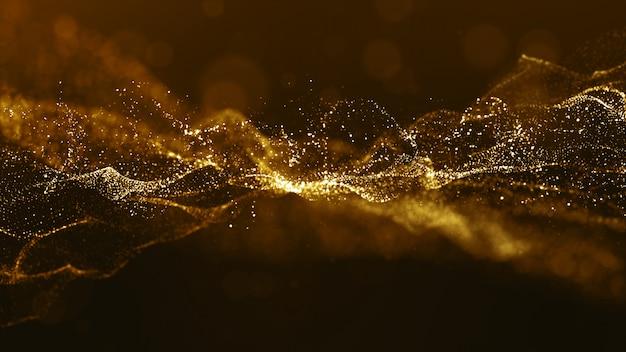 抽象的なゴールドカラーデジタル粒子波とボケ味と明るい背景 Premium写真
