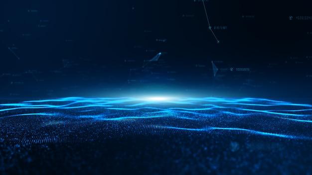 Абстрактная синяя волна цифровых частиц и цифровые сети передачи данных для технологии Premium Фотографии