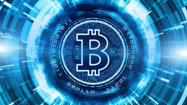 デジタルサイバースペースバックグラウンドでビットコイン通貨記号 Premium写真