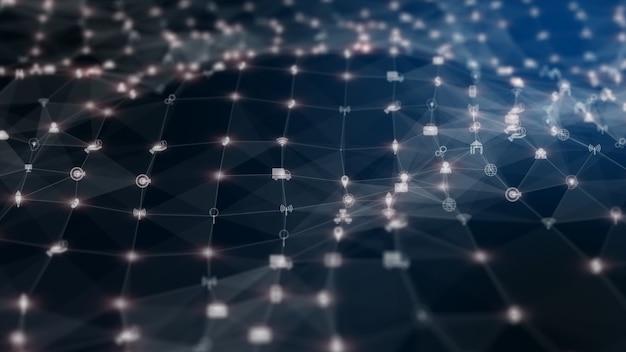 技術ネットワークデジタルデータ接続とネットワークマーケティングの背景 Premium写真
