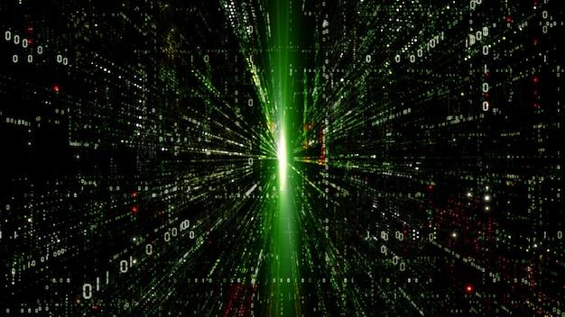 Цифровое киберпространство с фоном частиц Premium Фотографии