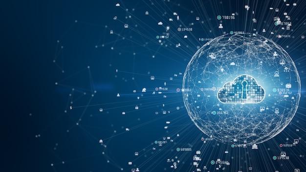 Безопасная цифровая сеть передачи данных. концепция кибербезопасности цифровых облачных вычислений Premium Фотографии