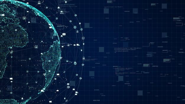 Технология передачи данных сети, цифровая сеть передачи данных и концепция кибербезопасности. элемент земли, предоставленный наса. Premium Фотографии
