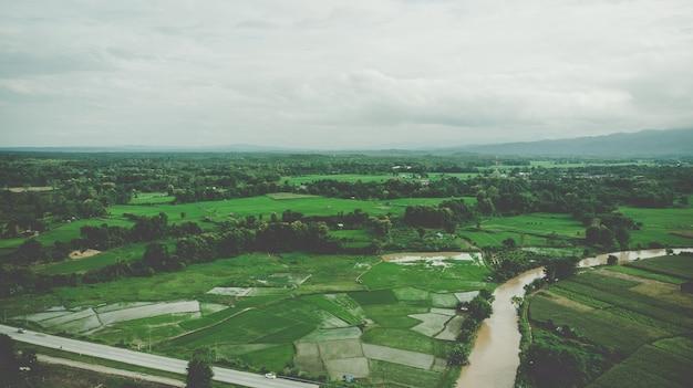 Воздушный вид террасы с рисовым полем в нан, таиланд Premium Фотографии
