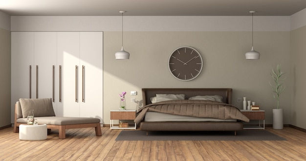革のダブルベッドを備えたモダンなマスターベッドルーム Premium写真