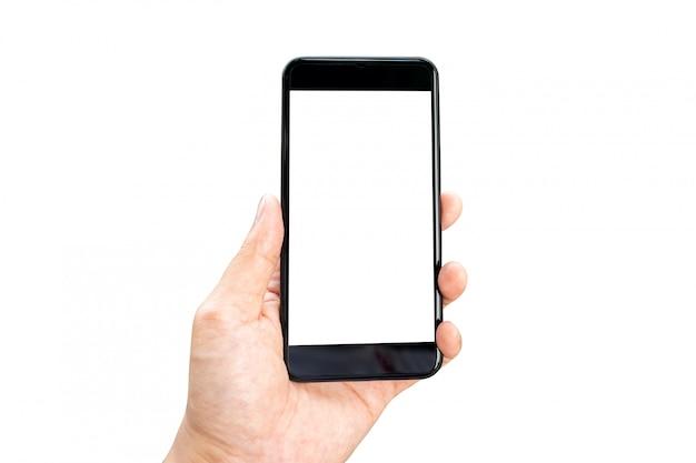 モバイルスマートフォン分離ホワイトスクリーンを持つ女性の手のモックアップ画像 Premium写真