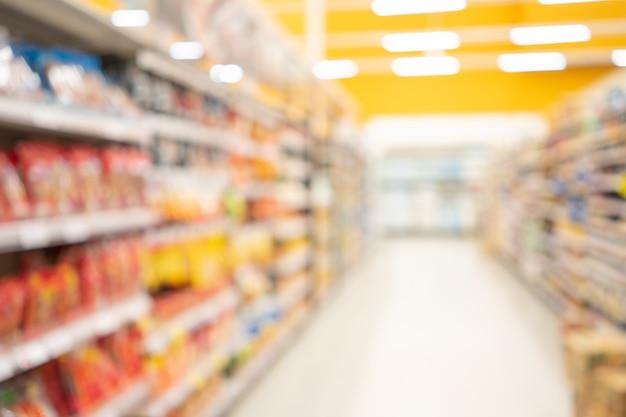 抽象的なぼやけたスーパーマーケット Premium写真