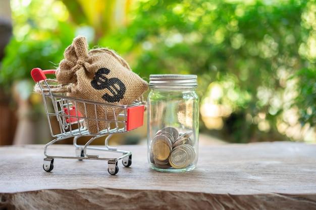 ショッピングカートにコイン(タイのお金)を収集するお金の概念を保存 Premium写真
